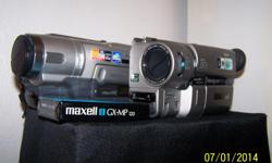 SONY HANDYCAM VIDEO CAMERAS. ONE 560X THE OTHER 72X WITH 3 HIGH 8 VIDEO CASSETTES.