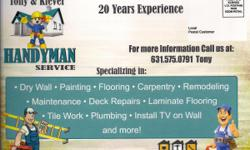 REMODELING - WINDOWS - DOOR- WOODFLOOR- TILE - DRYWALL - PLUMBER -ELETRICT PAINTING INT. EXT. - FIXTURE - MOUNTED TV ON WALL AND MORE... 20 YEARS EXPERIENCE ,GOOD PRICE AND REFERENCES...