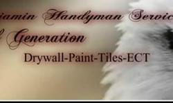 Drywall, Painting, Tiles, Ect.. Free drugs workmanship Like us in Facebook : Benjamin Handyman Service