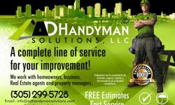 A D Handyman Solution Inc, working in South Florida. Our services include: Installing locks, doors, faucet or sinks, assembling kitchen cabinets, installing and repairing bathtubs, moldings, furniture, fans, painting, and more.. We also do kitchen