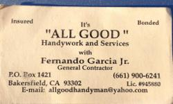 Here at Allgood Handywork and Services, a licensed general contractor, we are focused on providing high quality service and customer satisfaction. We will do everything we can to meet your expectations. We provide our clients with a great service that