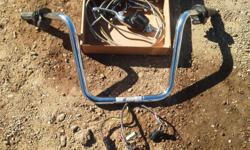 """14"""" ape hangers wild one chubbys internally wired throttle by wire comes with stainless cables included. Came off """"08 FLHRI road king with cruise control. The only thing I kept off the bars was the mirrors"""