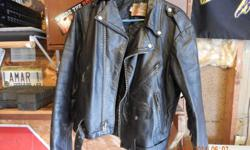 Two ..Black leather HD jacket with fringe old biker style sz med ? Made in USA $35.00 each 317.658.0509