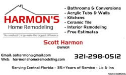 FREE ESTIMATES - Serving all Brevard and Central Eastern Florida Counties CALL: Scott (321) 298-0512 35 Years of quality remodeling projects. Doing one job at a time. Partial to Complete Remodels of Kitchens and