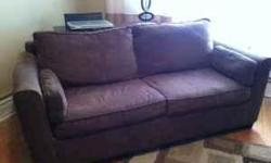 Haverty's Brown Textured Apartment Size Sleeper Sofa Three years old In great condition...minor hole in left arm Originally purchased for $900 75 in Long 36 in Wide Full size pull out bed
