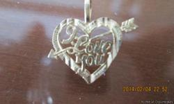 THIS IS A BRAND NEW 'I LOVE YOU' HEART W/ ARROW. IT IS 14K GOLD HAVE NO CHAIN FOR IT FEEL FREE W/ ANY QUESTIONS AT: HOTROD.ELROD71@YAHOO.COM ITEM WILL BE SHIPPED AND PAYMENT IS RECIEVED AND DEPOSITED IN BANK THE SAME