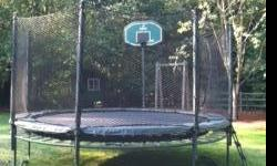 """14"""" AlleyOop DoubleBounce PowerBounce System with integrated Safety Enclosure, Basketball hoop, and Ladder. Would be over $2,500 new! See the following website for more information about this deluxe trampoline:"""