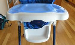 This is a Fischer Price Easy Fold highchair. Adjustable heights as well. Chair cushion needs replacement. Call -- if interested.