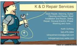 Do you have a roof leak, broken siding or a building that needs cleaned out? Call me at 540-476-3994. No job too big or small, from whole roof replacements to hauling off debris and to small repairs. Some of my services are: roofing, roof repairs,
