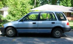 1990 Honda Civic Wagon: blue, 4cyl., auto., ps, pb, fwd; new tires, battery, radiator, exhaust and emissions; runs well but needs engine work, ac compressor and paint; everything else is fine; 250K, 1 owner, $800; 404-351-3153.