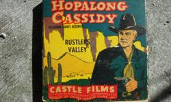 """Hopalong Cassidy 8mm film """"Rustlers Valley"""" cicra early to mid 50's. Original box. Near to mint condition. Will make great addition to anyones collection. Great price too! $50.00. If interested please contact me @ () -. PLEASE NO HEARING IMPAIRED PERSONS"""