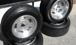 I have a nice set of Hot Rod tires and wheels. The wheels are polished Slots in sizes 14x6 and 15x8. The Tires are almost new Radials in sized 195/75R14 fronts and 265/50R15 rears! The bolt pattern is Chevrolet car 5 on 4.75 and fit tons of vehicles like