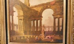 """this elegant reproduction picture is by french painter HUBERT ROBERT with nameplate that reads 'the landing place""""he was born in 1733 and always had a fascination with architecture and ruins , picture measures 40 1/2 by 35 1/2."""