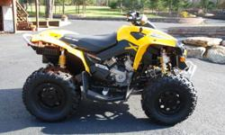 This Can-Am looks brand new, rides like brand new, NEVER been wrecked or sunk under water. There are no cracks or dents in plastics. Adult owned and trail ridden, 4X4, ONLY 219 miles. BUY IT NOW - 2400 usd, MUST SELL ASAP, because I am moving shortly.