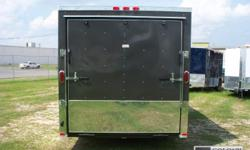 """1.) COLOR IS CHARCOAL GRAY 2.) 24"""" ANODIZED SIDES & REAR 3.) 6"""" EXTRA HEIGHT 4.) (1)ROW OF WALL E-TRACK IN EACH SIDE WALL 5.) (2)ROWS OF FLOOR E-TRACK 6.) REAR STABILIZER JACKS Please call -- us with any questions! 1.) V-NOSE FRONT W/ SOLID WALL"""