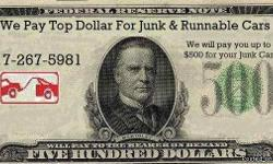 CLICK ON THE $500 BILL BELOW TO SEE OUR WEBSITE WE PAY CASH FOR ALL JUNK CARS TRUCKS AND VANS