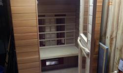 SAUNA FOR TWO  INDOOR ELECTRIC FAR INFRARED HEATER  BEAUTIFUL CEDAR CONDITION  DISASSEMBLES INTO SIX PANELS EXCELLENT CONDITION MUST BE SEEN TO BEAPPRECIATED >$4000 NEW  SELLING FOR $1500  PICK UP ONLY!