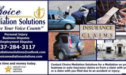 Would you like to resolve your Insurance Claim now. Contact Choice Mediation Solutions for a Mediation on your home, business or auto insurance claims on from a claim with your insurance or a claim with you filed due to an accident or injury. Mediation is