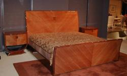 Exotic Tanganika and Indian Rosewood Inlay creates a beautiful look on a California King bed done in a glossy lacquer finish. 2 matching nitestands are available only- these last pieces are the only left from Italy. Call Jewels for more