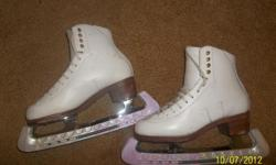 Girls, white leather, Jackson Figure Skates with Professional Blades size 5 1/2 A in great condition. Blades made in Sheffield England, Professional Freestyle. We're in Stratham area.