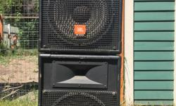 """Pair of JBL MR925 speakers (15"""" LF, 1"""" HF driver). Stands and connection cables included. $300 for the pair."""