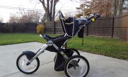 Like new, Jeep Jogging Stroller, rarely used. It has a cd/mp3 player on it withspeakers and a teather strap. Call -- evenings
