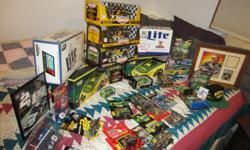 small collection of John Deere & Rusty Wallaceprecision die cast stock cars. All new in boxs. seven (7) large 1/18 scale models, and approx 25 smaller scale models. Retail on 1/18 scale John Deere back in 1997 was