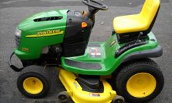 JOHN DEERE L120- 20 HP V TWIM ELECTRIC PTO 48 IN DECK , $900.00 FRONT BUMPER WILL DELIVER FOR A SMALL FEE GOOD CONDITION CALL --