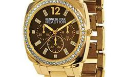 Elegant bezel and hour markers sparkle with clear crystals. Goldtone metal bezel and link bracelet. Face features Kenneth Cole Reaction logo and three nonfunctioning subdials. Quartz movement. Stainless steel case. Water resistant to 100'. SHIPPING