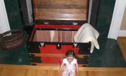 """Replica Steamer Trunk which can be utilized for toy storage or 18"""" doll stuff. It stands 27"""" wide x 14"""" deep and 18"""" tall made totally out of wood other then the hinges and latches. This is also cedar lined."""