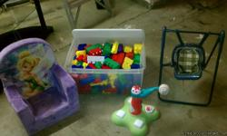 I have a cute tinker bell chair, mega blocks, a baby baseball toy, and a baby swing...10 bucks for all!