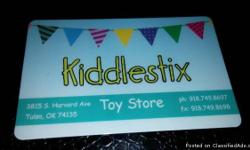 Kiddlestix Toy Store Location: Tulsa, OK- 3815 S. Harvard Balance-$264.46 Asking $200 NO EXPIRATION! Do not have kids/ Great for someone who has kids or Grandkids, nephews or nieces Serious inquiries only please! Offers unique & a huge variety of toys,