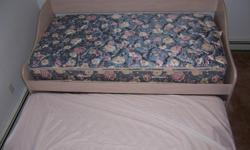 Kids high riser bed with pullout bed & 2 storage draws. Also matching desk mint cond.