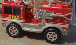 FIRE TRUCK IS FOR CHILDREN 3 & UP. IT SEATS 2 KIDS UP TO 130LBS COMBINED. IT HAS 2 SPEEDS 21/2 & 5MPH ALSO HAS FIRE NOZZLE THAT SPRAYS WATER, RESCUE BUTON, AIR HORN & MEGAPHONE SPEAKER!! COMES WITH ALL ORIGINAL PAPERWORK, RECHARGABLE BATTERY AND CHARGER.