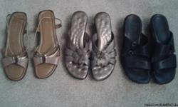 Walking Cradles - wedge slide in puter color with decorative flower, Clarks - black wedge slide, Life Stride - wedge sandal in light brown and gold. Shoes bought at Dollar Brothers & Dillards in Bowling Green, KY. All have 2 1/2 inch heel