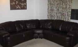 MOVING SALE Large U-Shaped Leather Couch......$300 or best offer! Good condition. A few minor tears in the leather in hidden spaces (i.e. between cushions). Comes from a non-smoking, pet-free apartment. Top cushioning is attached, but can be pushed down