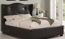 New Queen dark brown modern leather wrap bed (No Mattress) for $380.00.Bed is new in the original factory boxes and retails for over $600.00. Bed head board is 57 inches tall, side rails and foot board is 18 inches from the floor to the top of the bed