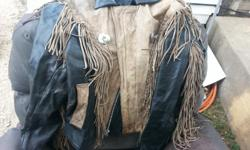 I have 2 leather jackets for sale one is brown and black with fridges on it and the other jacket is solid white with fridges on them. They are in good shape. If interested call --. Thanks
