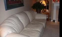 """Cream colored Viewpoint leather sofa 92"""" long. Excellant condition, pick up in Stillwater"""