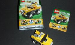 Several different items to choose from. Buy more than one and we can negotiate new pricing. 1. Legos - Mini-Dumper Ages 6-12 3 in 1 Set builds a mini-dumper, a race car or an off-roader. 60 pieces Has box, all pieces and instructions. Like new 2. Legos -