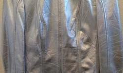 Women's Metallic Silver Escada Leather Jacket in immaculate condition. Worn only once. Asking $300.00 or best offer. Size 34 (small)  Jacket, Leather, clothing, apparel, escada, silver, brand new, excellent condition