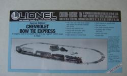 """Lionel electric train """"Bow Tie Express"""" brand new, never opened, still in orginial cellophane wrapping. This is a """"Limited Edition"""" train set, only so many made. Train set consists of, 4-4-2 die cast steam engine w/coal tender, working"""
