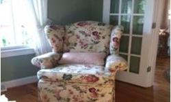 5 piece living room set, sofa, 2 high back chairs and onmia.