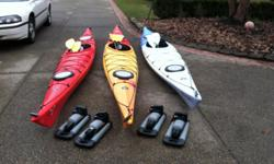 Very gently used, only one summer. Includes 15 foot Perception Expression, 16.5 foot Perception Essence & a 17 foot Perception Essence, each with their own paddle. As the pictures demonstrate each kayak has storage. Skegs are also on each boat. The two