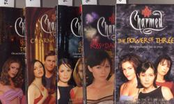 """This is a lot of 5 paperback books based on the Charmed television series: Condition: used The Power of Three: good condition, light edgewear, moderate spine creasing, """"11"""" at the top of the spine in blue marker Kiss of Darkness - good condition, light"""