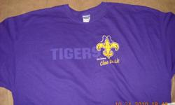 Louisiana TIGERS with Emblem on Front and WHO DAT on Back with Emblem T-Shirt - (1) 2x (Shirt is Purple) Brand New Never Worn.