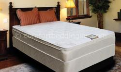 NEW, USA MADE, IN-STOCK, FULLY WARRANTEED, RETAILS $899, OUR PRICE $245. ULTRA COMFORTABLE EUROPEAN DESIGNED PILLOW TOP INNERSPRING MATTRESS AND MATCHING FOUNDATION. A FAVORITE IN ''SLEEP-ALL-NIGHT'' COMFORT AND PERFORMANCE. WE ARE NEW ENGLAND'S