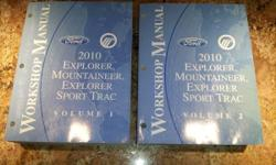 """This is a Brand New 2010 Ford Explorer, Mercury Mountaineer & Ford Explorer Sport Trac Service Shop Manual Set. This set is 2 Manuals over 5"""" thick. This is a FORD Product and is in new condition and a must for home mechanics. Item is available for pickup"""