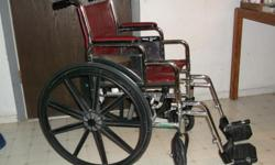 Manual wheelchair like new, only used twice, seat width is 17½? depth is 15½.? Chair is in good condition. $50.00.