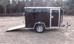 Stock #: custom order Serial #:order Description ::: ai 5x8 sa enclosed cargo trailer: v-nose front w/ solid wall construction, rear ramp door /no spring assist, l.e.d. tail lights, interior 12 volt dome light w/ switch, non